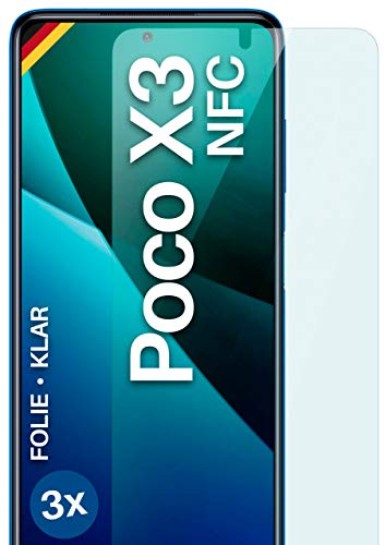 moex Klare Schutzfolie kompatibel mit Xiaomi Poco X3 NFC / X3 Pro - Displayfolie kristallklar, HD Displayschutz, dünne Kratzfeste Folie, 3X Stück