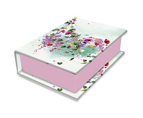 Clairefontaine 83397C - Une Petite Boite de Rangement en Carton Multifonctions Rectangulaire motifs Floral/Papillons - 9,5 x 6,5 x 3 cm - Collection Tropical dream - 3 visuels, livraison aléatoire