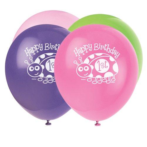 Unique Party - 40405 - Paquet de 8 Ballons en Latex - 1er Anniversaire Coccinelle - Rose - 30 Cm