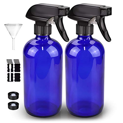 Glass Spray Bottle, Bontip Amber Glass Spray Bottle Set & Accessories for Non-toxic Window Cleaners Aromatherapy Facial hydration Watering Flowers Hair Care (2 Pack/16oz) (Blue)