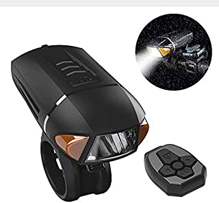 Horn Super Bright Remote Control Black Durable Headlamp Turn Signal Waterproof Led Front Bike Light USB Rechargeable Warning