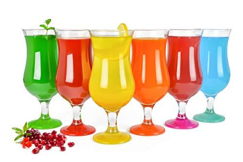 Sendez 6 Stück Cocktailgläser 480ml 9 Varianten Hurricane Longdrinkgläser Bargläser (Mix2)