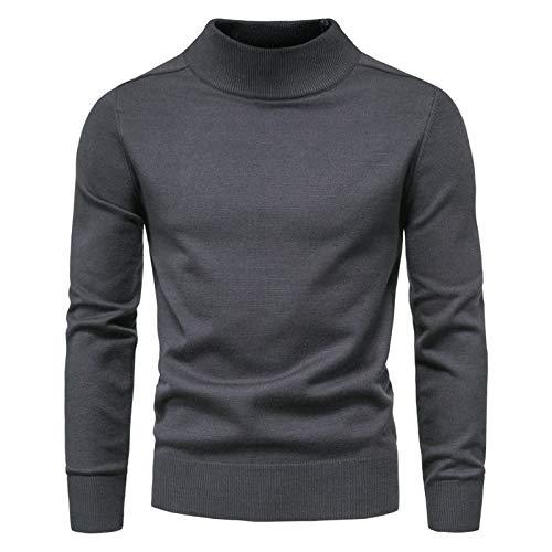 WLZQ Herbst Und Winter Herrenpullover Strickwaren Einfarbig Halbhohen Lässigen Langarmpullover Bottoming Shirt Gestrickt T-Shirt