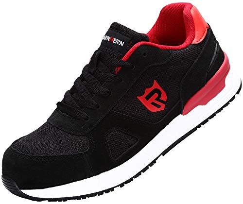 tahlkappe Sicherheitsschuhe Herren,LM-123 Leicht Reflektierender Streifen Arbeitsschuhe Atmungsaktiv Anti-Smash Sneaker Schwarz/Rot Gr.6,5UK