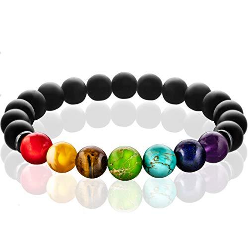 FABACH Chakra Perlenarmband mit den Perlen Aller Sieben Chakren und Onyx-Naturstein (schwarz) - Yoga Armband aus Heilsteinen - Energiearmband für Damen und Herren