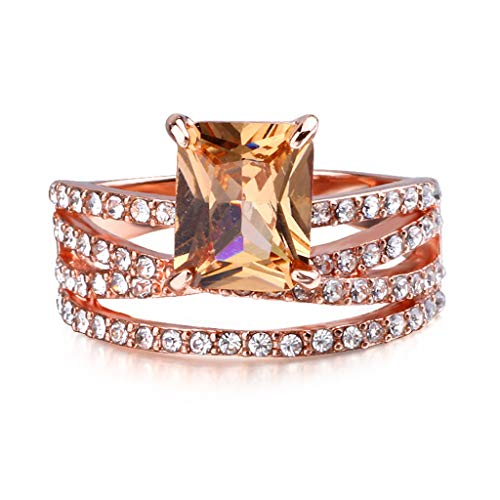 Allywit 3 Rings Women's Diamond Gemstone CZ Wedding Engagement Ring Bridal Jewelry Cocktail Party Bridal Engagement Engraving (6, Rose Gold) Photo #3