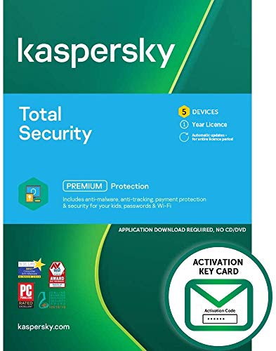 Kaspersky Total Security 2021   5 Devices   1 Year   PC/Mac/Android   Activation Key Card by Post with Antivirus Software, Internet Security, Secure VPN, Password Manager, Safe Kids