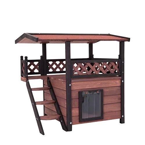 Cat House Kitten Den Outdoor Pet Wooden Maisonette Shelter Luxury Garden Home Patio Hut