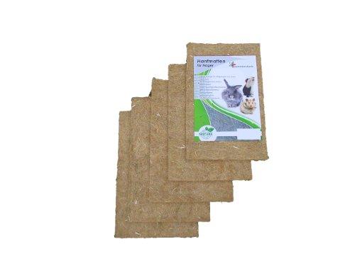 Nager-Teppich aus 100 % Hanf, 40 x 25 cm 10 mm dick, 5er Pack,(EUR 3,57/Stück) Nagermatte geeignet als Käfig Bodenbedeckung z.B. für Kaninchen, Meerschweinchen, Hamster, Degus, Ratten und andere Nagetiere.