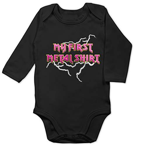 Sprüche Baby - My First Metal Shirt mit Blitzen rosa - 12/18 Monate - Schwarz - Metal - BZ30 - Baby Body Langarm