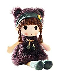 top 10 cute rag dolls 17 inch HWD A soft plush doll for girls with cute plush toys. A good gift for baby lovers.  (violet)