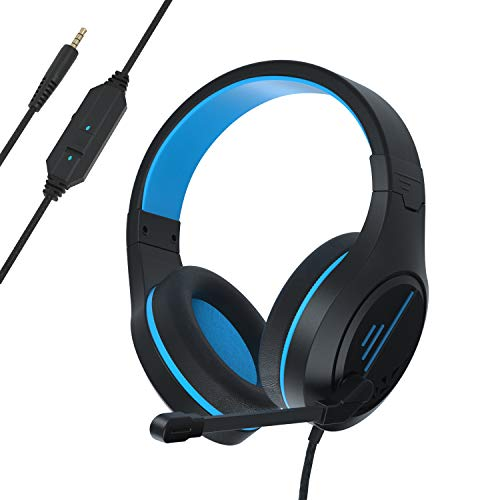 Gaming Headset Noise Cancelling Headphones with Microphone, Volume Control Memory Earmuffs Wired Stereo Headset Compatible with PS4, PC, Xbox One, Laptop, Nintendo NES Headphones for Adults and Kids