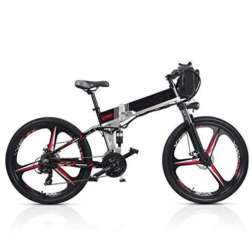 Bicicleta Eléctrica Montaña Plegable, 26 Pulgadas Bicicleta Eléctrica Conmutar para Adultos Que Viaja Estilo Opcional de Doble Batería Duración de la Batería de hasta 180 km,Negro,B (Dual Battery)