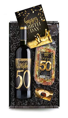 Geschenkbox Happy Birthday 50 - Set mit Weisswein und Geburtstagskarte