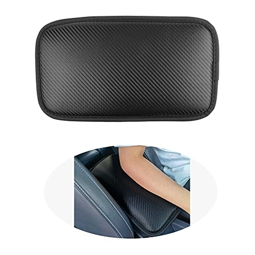 Amiss Car Center Console Pad, Universal Waterproof Car Armrest Seat Box Cover, Carbon Fiber PU Leather Auto Armrest Cover Protector for Most Vehicle, SUV, Truck, Car (Black)