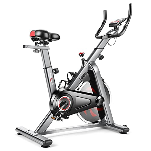 HEKA Cyclette da Casa Spinning Bike, Cyclette da Camera con Volano da 13 kg, Cyclette Spinning con Resistenza Magnetica, Super Silenziosa, Trasmissione a Cinghia, Monitor LCD, Ergometro, Max 150 Kg
