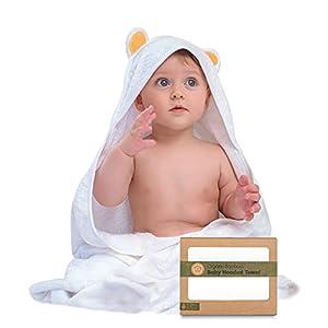 Toalla de baño - Toallas con capucha por keababies - Suave para bebé con capucha toalla de bebé de bambú orgánico para infantil - Toalla natural (Oso)