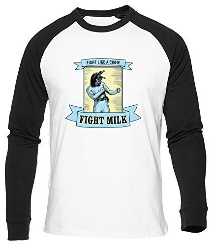 Fight Milk Baseball T-Shirt Herren Damen Unisex Weiß Bio Baumwolle Men's Women's White