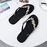 Zapatillas Casa Chanclas Sandalias Sandalias Flip Flop Adornadas con Concha Sandalias De Playa Zapatos Sin Cordones para Surf-Noir_37