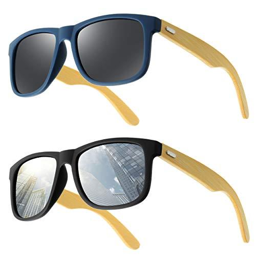 UrbanSky Sonnenbrille Raymond - Bügel aus Bambus - Schadstofffrei - UV 400 Filter - 1x Schwarz 1x Blau