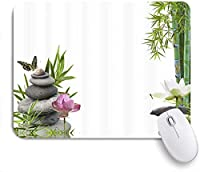 NIESIKKLAマウスパッド アジアの禅マッサージ石竹蝶蓮の花 ゲーミング オフィス最適 高級感 おしゃれ 防水 耐久性が良い 滑り止めゴム底 ゲーミングなど適用 用ノートブックコンピュータマウスマット