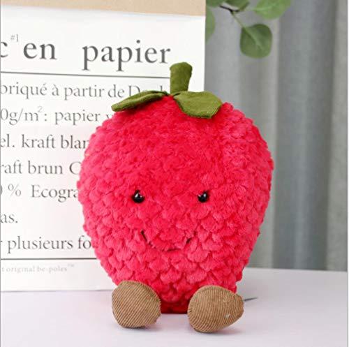 WGOOPillow Plüschtier | Kuscheltier | Kissen | weich und flauschig Kuschel– für Kinder & Babys,Bequemes Obst Plüschtier,Sofadekoration,Erdbeere,22Cm