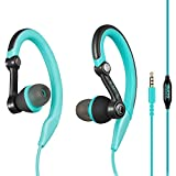 mucro Running Headphones Over Ear in Ear Sport Earbuds Earhook Wired Stereo Workout Ear Buds for Jogging Gym for iPhone iPod Samsung (Blue)