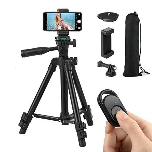 Hitchy Handy Stativ, Kamera Stativ 26 Zoll 65cm Aluminium-Leichtbau Smartphone Stativ für IPhone/Samsung/Huawei und Kamera mit Bluetooth-Fernbedienung (Schwarz)