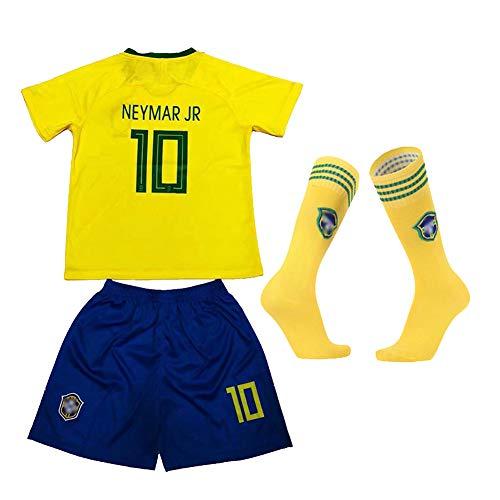 CBVB Uniforme de fútbol para niños,Hazard Pogba, Argentina Brasil Portugal Francia Nueva Temporada (Local y visitante) Camiseta de fútbol, Personalizable, Kit deportivo-Brazil-18