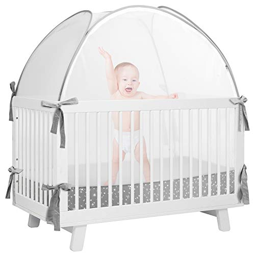 De-LOVELY Crib Pop Up Tent, Crib Safety Tent,Baby Safety Mesh Cover Mosquito Net,Crib Tent to Keep Baby from Climbing Out