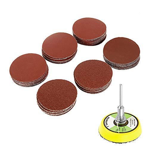 Dandelionsky 60PCS 2 Inch Sander Disc Sanding Disk 100-2000 Grit Sandpaper with Abrasive Polish Pad Plate for Drill Grinder Rotary Tools