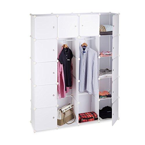 Relaxdays Kleiderschrank Stecksystem mit 2 Kleiderstangen, Garderobe mit 14 Fächer, Kunststoff...