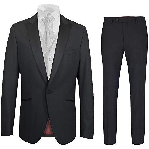 Paul Malone - Hochzeitsanzug modern Set 6tlg schwarz Slim FIT inkl. Hochzeitsweste weiß barock 52
