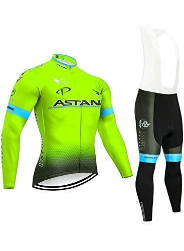 Men Bike Clothing Winter Fleece Warm Long Sleeve Jersey(with Reflective Strip) Pro MTB Bicycle Coat + 5D Gel Trousers Green B-XS