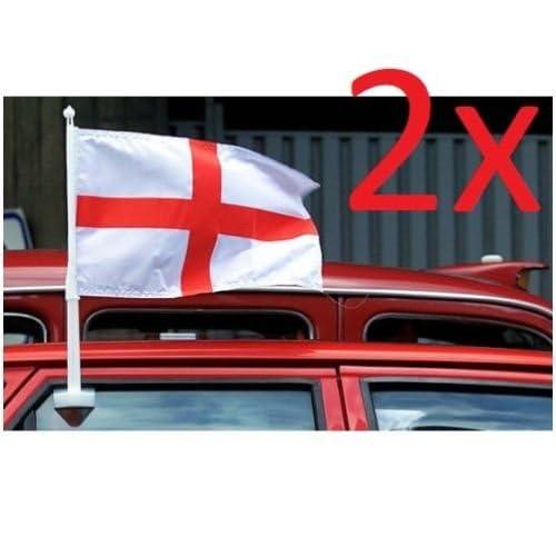 SET OF 2 ENGLAND CAR FLAG WINDOW ST GEORGES CROSS FOOTBALL VAN WORLD CUP 2018