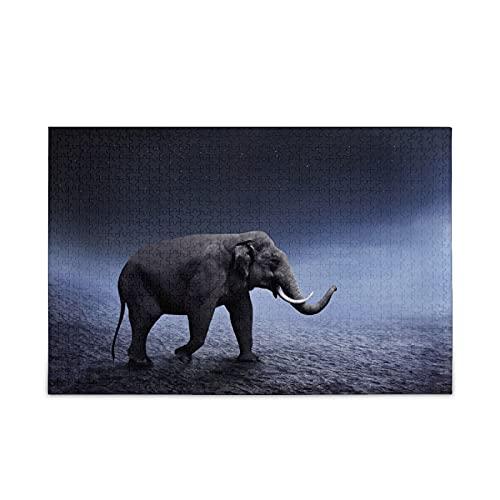 Rompecabezas para adultos y niños, rompecabezas del desierto de Sumatran elefante Walk Toy 500 piezas