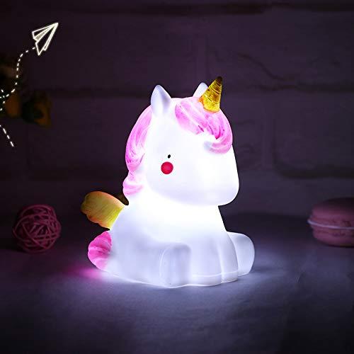 Gshy - Lámpara de noche pequeña unicornio para niños y bebés (1 unidad)