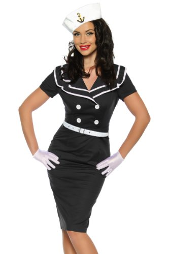 Hochwertiges Vintage-Kleid im Pin-Up-Style, mit typischem Matrosen-Kragen (L38)