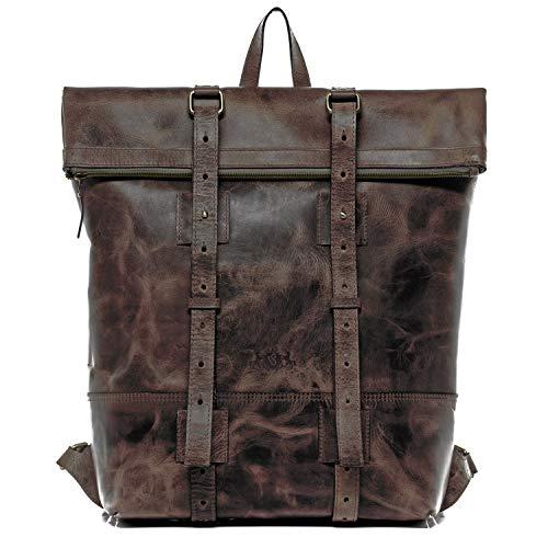 SID & VAIN Rucksack echt Leder CHAZ XXL groß Backpack Tagesrucksack Kurierrucksack 15' Laptop Lederrucksack Laptopfach Lederrucksack Herren braun
