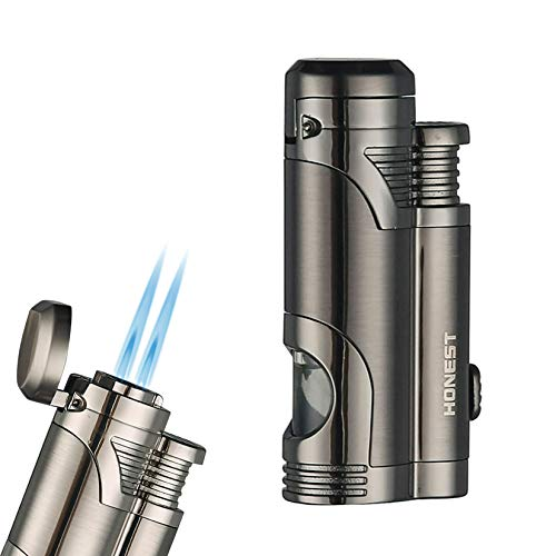 PROMISE by Honest Cigar Cigarette Lighters Double 2 Jet Flames Visible Gas Tank with Hidden Cigar Punch (Gun Black)