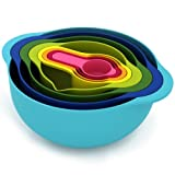 Joseph Joseph 40086 Nest 8 Nesting Bowls Set with Mixing Bowls Measuring Cups Sieve Colander, 8-Piece, Multicolored