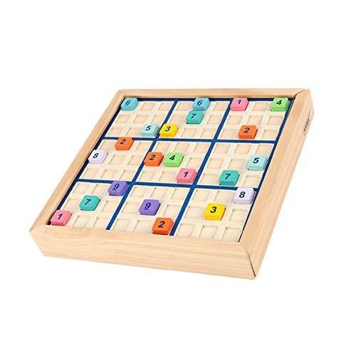 adfafw Holz Sudoku Brettspiel, EIN Familien-Mathe-Spiel mit Schubladen und Würfeln mit 90 bunten digitalen Würfeln, Frühkindliches pädagogisches Brettspielspielzeug Decent