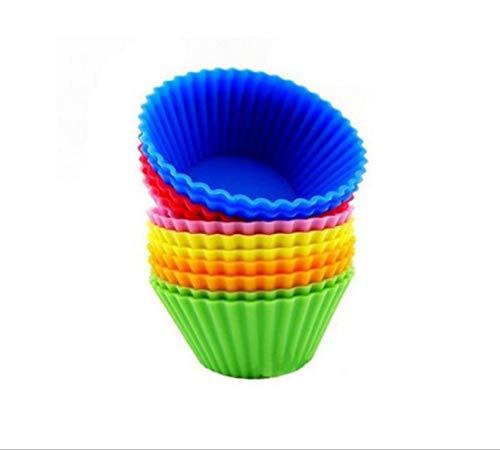 YUEMING 12 Piezas Molde de Silicona para Hornear moldes para pastelería Mini Tazas de Silicona Reutilizables y antiadherentes para Hornear,Set de 6 Colores de sartén Antiadherente