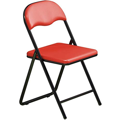 WXBHOZ Stuhl Klappbar Kiiche,Tragbarer Schulungskonferenzstuhl, Home Entertainment Besucher Stühle, U-förmige Stahlrohrhalterung, Tragfähigkeit 150kg (Color : Red, Size : 78 * 45 * 43cm)