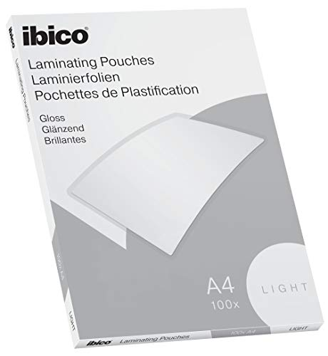 Ibico Basics Laminierfolien, A4, 100er Pack, Leicht, Glänzend, Transparent, 627308