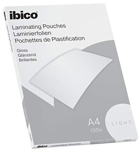 Ibico Basics Láminas para Plastificar Tamaño A4, Ligeras, Pack de 100, Acabado Brillante, Transparentes, 627308