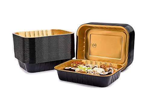 CONTITAL Contenitori 4 Porzioni in Alluminio laccato AS221530 Eclipse - Vaschette monouso Nero/Oro, Linea Eclipse, Luxury Food Delivery - Extra Rigidi, 50 pezzi