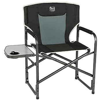 Timber Ridge Chaise de Directeur Pliable Aluminum Fauteuil de Camping Portable Légère Support 135kg Robuste avec Table d'appoint Noire