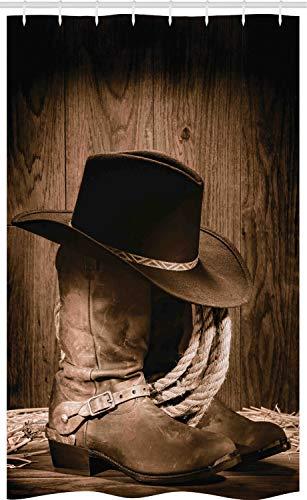 ABAKUHAUS Western Schmaler Duschvorhang, Wild Cowboy Hut aus Holz, Badezimmer Deko Set aus Stoff mit Haken, 120 x 180 cm, Braun