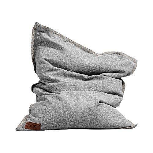 SACKit - SQUAREit Cobana Junior Light Grey- Hellgrau quadratischer Indoor/Outdoor Sitzsack für Kinder, Jungen & Mädchen – EIN Sessel für das Kinderzimmer oder fürs Gaming im Jugendzimmer